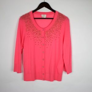 KATE SPADE Studded Cardigan Sweater XL